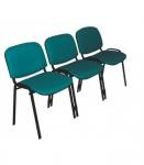Секция Персона 3 (ИЗО 3) из 3-х стульев. Обивка ткань цветная. Каркас черный.