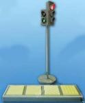 """Электрифицированная модель транспортного и пешеходного светофоров на стойке и основании с """"Виртуальным учителем"""" и сенсорной панелью с образцами тактильной тротуарной плитки для сл"""