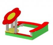 Песочница «Ромашка» , Размер: 1520х1320х1500