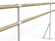 Станок хореографический сдвоеный крепление к полу L=1500 мм (поручень-береза), секц